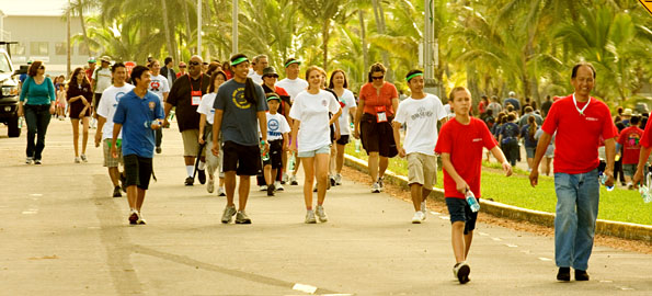 Participants in the Hilo Heart Walk make the Saturday morning stroll next to Hilo Bay to raise their fitness along with funds for the American Heart Association.