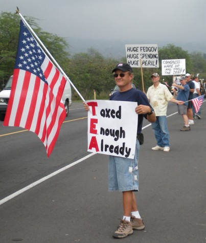 Dozens of flags and signs greeted drivers along Queen Kaahumanu Highway during the Tax Day Tea Party. (Hawaii247.com photo by Karin Stanton)