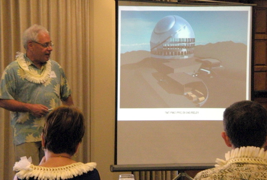 Gary Sanders, TMT project manager, details the world's largest telescope at the supplier's conference Monday in Hilo. (Hawaii247 photo by Karin Stanton)
