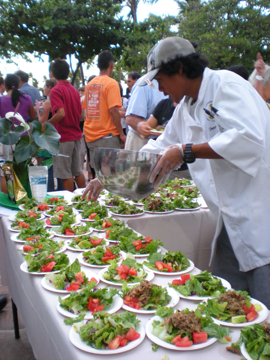 Kalua pig and green salad by the Univerity of Hawaii Manoa students and Chef/Instructor Mark Segobiano.