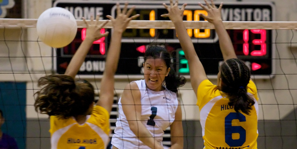 Hilo played tough at home Thursday night (Oct 15), even leading at times, but the Waiakea squad rallied for the win in straight sets 26-24, 25-16, 26-24.