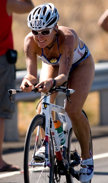 The Big Island's Bree Wee on Queen Kaahumanu Highway in Kawaihae during the bike leg of the Ironman Triathlon. Photography by Baron Sekiya.