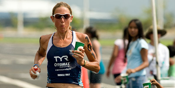 Chrissie Wellington dominating the women's race in the Ford Ironman Triathlon World Championship.