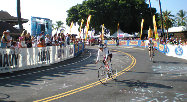 Triathletes start the 112-mile bike leg. (Hawaii247 photo by Karin Stanton)
