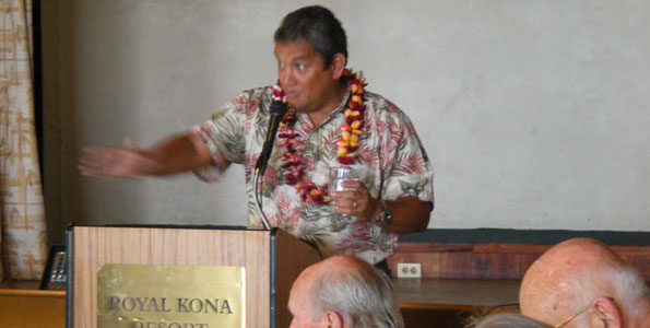 Mayor Billy Kenoi speaks at the Destination Kona Coast luncheon. (Hawaii 24/7 photo by Karin Stanton)