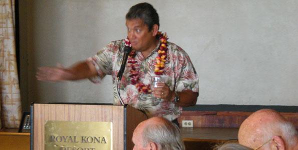 Mayor Billy Kenoi speaks at the Destination Kona Coast luncheon. (Hawaii 24/7 photo by Karin Stanton)