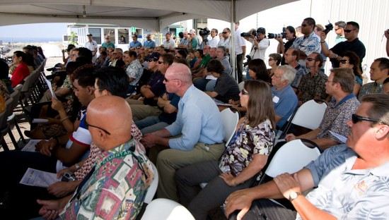 The crowd at the Sopogy solar farm dedication. (Hawaii 24/7 photo by Baron Sekiya)