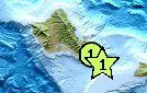 A minor earthquake occurred at 2:12:45 PM (HST) on Thursday, February 24, 2011. The temblor was felt and widely reported by people on Oahu and on Molokai.  The earthquake was originally reported by the USGS to have an center of the quake south of Lanai but was revised with the epicenter in the Kaiwi Channel between Oahu and Molokai.