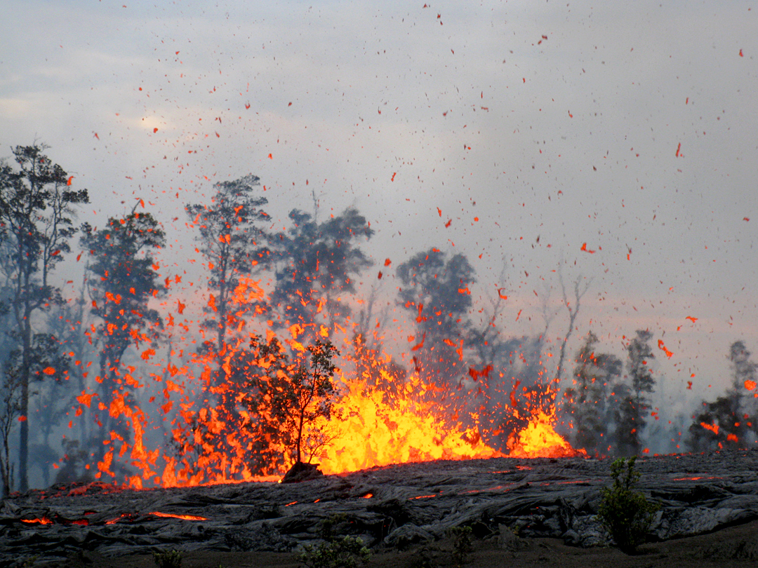 The fissure between Pu'u 'O'o and Napau Crater on Kilauea's east rift zone erupts lava spatter up to 25 m (80 ft) high. Photo courtesy of Hawaiian Volcano Observatory