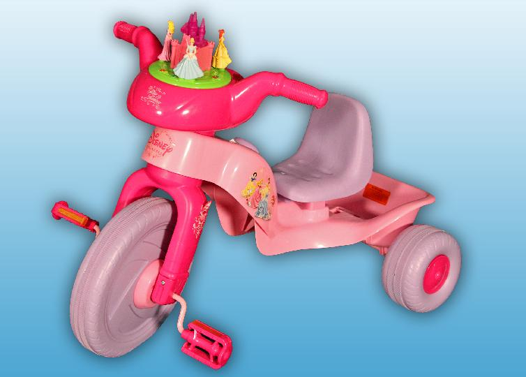 About 9,000 recalled in the U.S. and 700 in Canada. The plastic castle display and the princess figures protruding from the top of the handle bar pose a laceration hazard if a child falls on it. CPSC and Kiddieland have received three reports of children suffering facial lacerations.