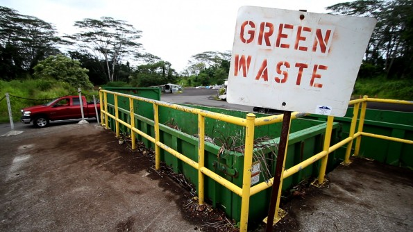 Green waste bins at the Keaau Transfer Station in Puna. Photos by Baron Sekiya | Hawaii 24/7