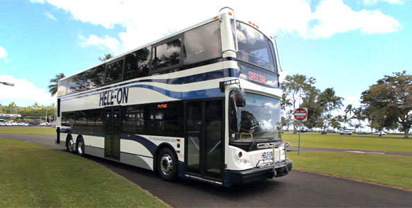 The new Hele-On double decker bus debuted Friday (May 20) with a circle island tour carrying kupuna and county workers.