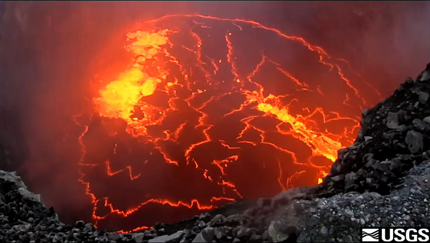A small lava lake was present deep within the Halema`uma`u Overlook vent during the past week. A cycle of deflation and inflation (a DI event) was recorded at the summit starting last weekend and lasting through the early part of the week.