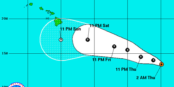 As of 11 p.m. HST the center of Tropical Storm Fernanda was located 1,115 mile East-Southeast of South Point, Hawaii. Maximum sustained winds have increased to 65 mph with higher gusts. Tropical storm force winds extend outward of up to 80 miles from the center.