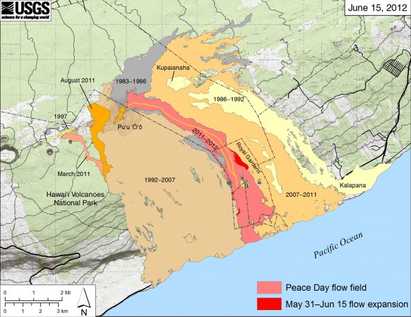 Map showing the extent of lava flows erupted during Kilauea's ongoing east rift zone eruption and labeled with the years in which they were active. Episodes 1-48b (1983-1986) are shown in gray; episodes 48c-49 (1986-1992) are pale yellow; episodes 50-53 and 55 (1992-2007) are tan; episode 54 (1997) is yellow; episode 58 (2007-2011) is pale orange; the episode 59 Kamoamoa eruption (March 2011) is at left in light reddish orange; and the episode 60 Pu'u 'O'o overflows and flank breakout (March-August 2011) are orange. The currently active Peace Day flow (episode 61) is shown as the two shades of red-light red is the extent of the flow from September 21, 2011, to May 31, 2012, and bright red marks flow expansion from May 31 to June 15. The active lava tube is delineated by the yellow line within the active flow field. The contour interval on Pu'u 'O'o is 5 m.
