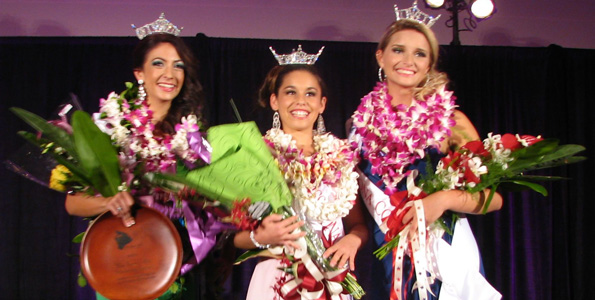 Miss Aloha Hawaii Sloanne HewLen; Miss Kona Coffee Outstanding Teen Keahi Delovio