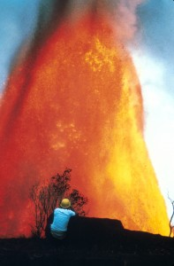 Hawaii Volcanoes National Park. 1969-1971 Mauna Ulu eruption of Kilauea Volcano. Puu Huluhulu, with Mauna Ulu fountain about 1500 feet high in the background. Photo by H. Schmincke, December 30, 1969.
