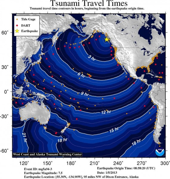 Tsunami time travel map. Hawaii could experience small non-destructive sea level changes and strong or unusual currents starting at 4:28 a.m. Saturday (Jan 5).