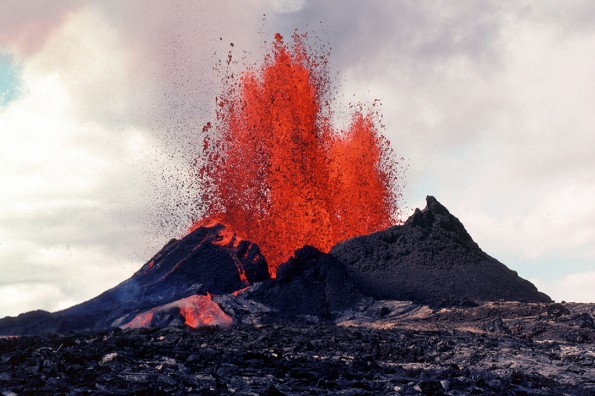 Tephra falling from a lava fountain on September 6, 1983, helped build the Pu`u `O`o cone, which eventually reached a maximum height of 255 m (835 ft) in 1986. Photo courtesy of USGS/HVO