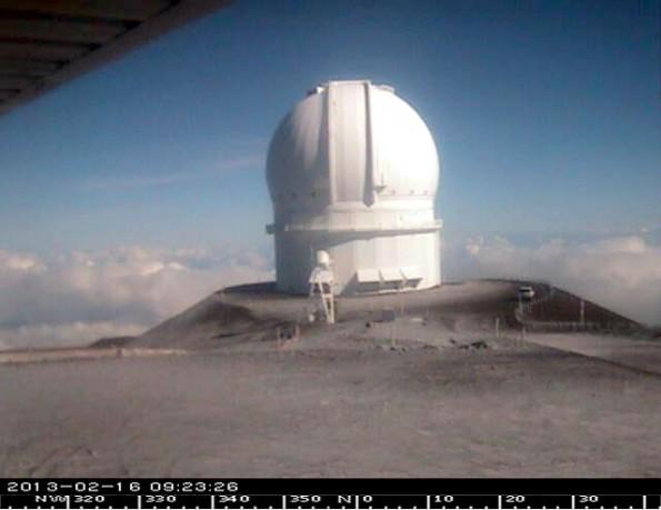 Canada-France-Hawaii Telescope on Mauna Kea at 9:23 a.m. Saturday (Feb 16). Image courtesy of CFHT