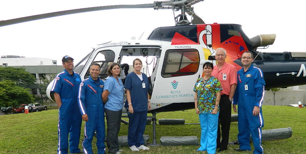 Kona Community Hospital's American Eurocopter AS350 Be, with hospital staff and Hawaii Life Flight crew. (Photo courtesy of Kona Community Hospital)
