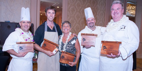From left: Fairmont Exec Pastry Chef Daniel Sampson, Dr. Nat Bletter of Madre Chocolate, Elena Garcia of Elena Chocolate, Fairmont Chef Stephen Rouelle and Fairmont Exec Chef Hubert Des Marais. (Photo courtesy of Shortini Photography)
