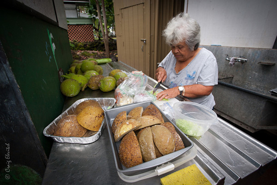 Auntie Shirley Kauhaihao of Keei, South Kona, will be demonstrating how to select and prepare ulu fruit. (Photo courtesy of Craig Elevitch)