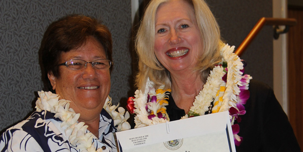 Mary Begier, Hawaii Island Chamber of Commerce recognized for supporting Mauna Kea plan