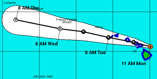 At 11 a.m. the center of Tropical Storm Flossie was located North of the Big Island moving toward the West-Northwest direction near 18 mph.