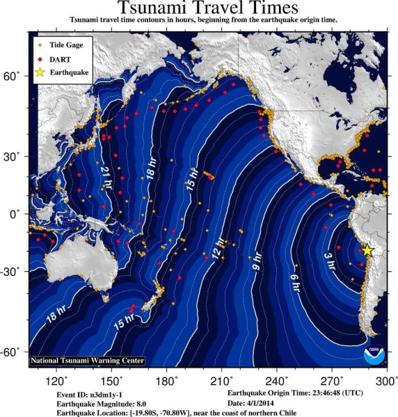 Time travel map for tsunami or ocean surges from Chile earthquake on April 1, 2014.