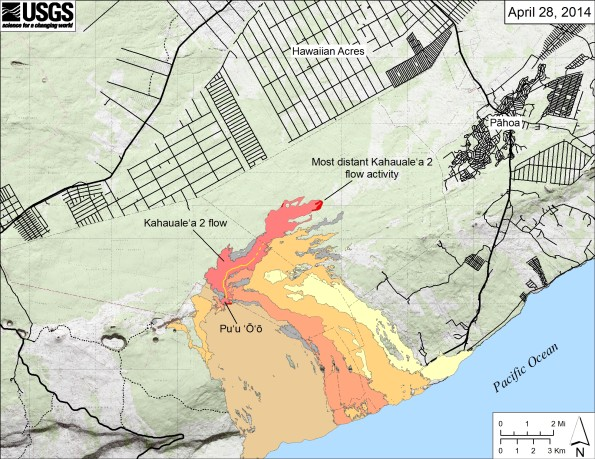 Map showing the Kahaualeʻa 2 flow in relation to the eastern part of the Island of Hawaiʻi as of April 28, 2014. The most distant active front of the Kahaualeʻa 2 flow was just over 8.3 km (5.2 miles) straight-line distance northeast of Puʻu ʻŌʻō. Two other flows were also active on the flanks of Puʻu ʻŌʻō, each erupting from a different vent. One, fed from a spatter cone on the north side of the crater floor, had advanced about 400 m down the northern flank of Puʻu ʻŌʻō. The other, fed from a spatter cone on the south side of the crater floor, had reached about 500 m southeast of Puʻu ʻŌʻō. The area of the Kahaualeʻa 2 flow as of April 18 is shown in pink, while widening of the flow since then, including the two new flows on Puʻu ʻŌʻō, is shown in red. Older lava flows are distinguished by color: episodes 1–48b flows (1983–1986) are shown in gray; episodes 48c–49 flows (1986–1992) are pale yellow; episodes 50–55 flows (1992–2007) are tan; episodes 58–60 flows (2007–2011) are pale orange, and episode 61 flows (2011–2013) are reddish orange. The active lava tube is shown with a yellow line (dashed where its position is poorly known).