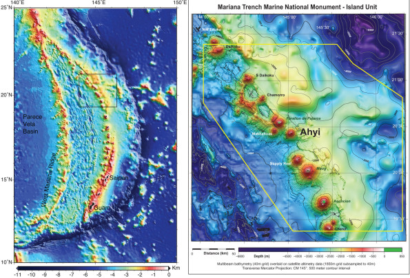 Bathymetric maps showing the islands and seamounts that make up the Mariana volcanic island arc (left) and the area of Ahyi seamount in the northern part of the arc (right). Susan Merle of NOAA's Earth-Ocean Interaction Program created these maps.