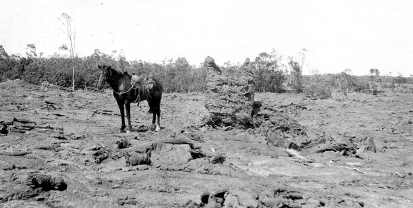 Hawaii Volcanoes National Park. Lava tree mold with pieces of partly charred wood, which are remnants of the top of tree, on the 1823 lava flow of Kilauea Volcano. Photo by H.T. Stearns, July 11, 1924.