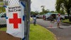 The Red Cross handing out supplies at the Pahoa Community Center Parking Lot. Photography by Baron Sekiya | Hawaii 24/7