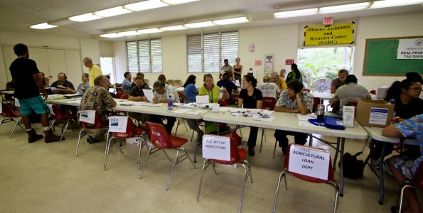 Disaster Assistance Recovery Center (DARC) at Pahoa Community Center Friday (Aug 15). DARC will be set-up 8 a.m. - 8 p.m. at the Mountain View Gym Saturday-Sunday (Aug 16-17). Photography by Baron Sekiya | Hawaii 24/7
