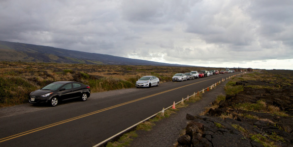 Cars lined-up on the mauka side of Chain of Craters Road in Hawaii Volcanoes National Park near the turn-around. Hawaii 24/7 File Photo