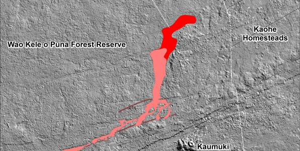 This shaded-relief map, with digital surface data provided by the Carnegie Airborne Observatory, shows some of the cracks, faults, and grabens (down-dropped blocks between adjacent faults; http://earthquake.usgs.gov/learn/glossary/?term=graben) that are present in Kīlauea's East Rift Zone, and which have partly controlled the June 27th flow's advance direction. The June 27th flow as of September 8, 2014, at 12:45 PM is shown in pink, while flow advance since then (as of ~2:45 PM on September 10) is shown in red. At the time of the mapping, the flow was advancing toward the northeast.