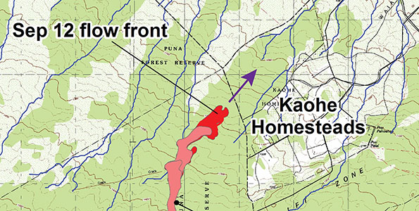 At the average rate of advancement of 820 feet/day since September 10, the USGS/HVO projects that lava could flow from its current location into the Northwest part of Kaohe Homesteads within a day, and to the Pāhoa Village Road (government road) in Pāhoa within 20 days