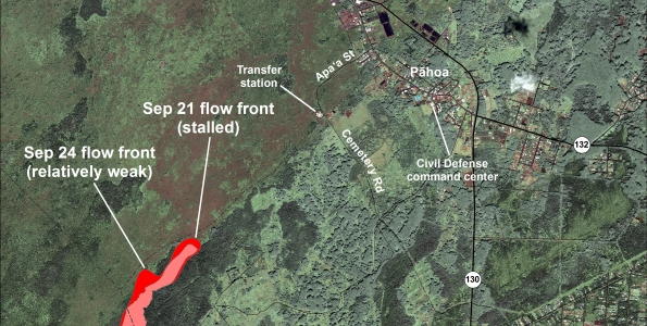 This map uses satellite imagery acquired in March 2014 (provided by Digital Globe) as a base image to show the area around the front of the June 27th lava flow. The flow front closest to the transfer station was inactive, but small, sluggish breakouts were scattered across the surface of the flow upslope from the stalled front. The most active breakout was advancing northeast from the north margin of the flow. Because the flow has not been advancing at its leading edge, we do not project its advance at this time.