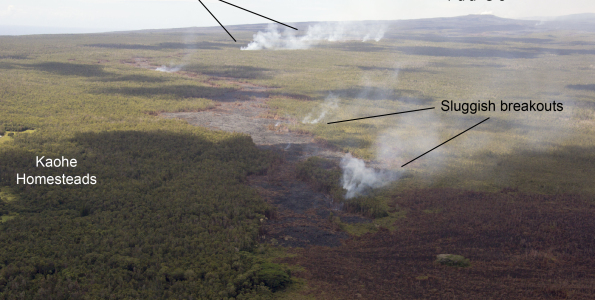 Annotated photo showing the terminus of the June 27th lava flow. Small, sluggish breakouts remain active upslope from the stalled front of the flow, near Kaohe Homesteads. More vigorous breakouts are active even farther upslope, midway along the length of the flow and on a pad of lava within the crack system. Photo courtesy of USGS/HVO