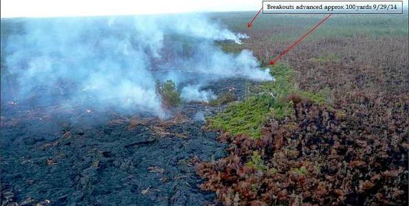 Kilauea's June 27th Lava Flow photo taken Monday morning, September 29, 2014. Photo courtesy of Hawaii County Civil Defense