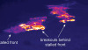 A thermal camera photograph of the front of the June 27th lava flow. The image shows the extent of active breakouts more clearly. These breakouts have been advancing slowly over the past few days, and were present a short distance upslope of the stalled flow front. Photo taken Monday (Sept 29). Photo courtesy of USGS/HVO