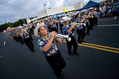 Hilo High School Band marching in the Lehua Jaycees Island Style Christmas parade in Hilo.