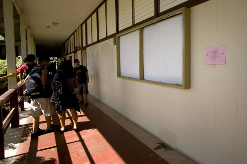 A bulletin board set ablaze by vandals has been painted over as students continue their classes at Ka'u High School.