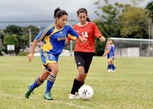 Hilo and St. Joseph during BIIF girls soccer action.