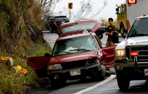 One of the vehicles involved in a three car accident at Kaawalii Gulch on the Honokaa side.