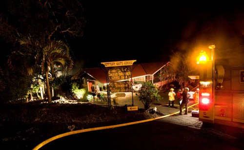 Firefighters responded to a blaze at Paradise Pottery Studio in South Kona near the intersection of Anoi Road and Anoi Place.
