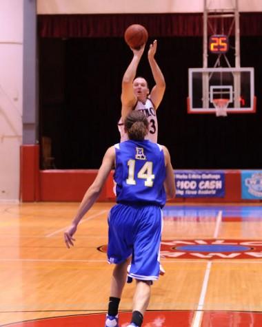 Jay DeMaestri takes a jumper against the University of Alaska Fairbanks.
