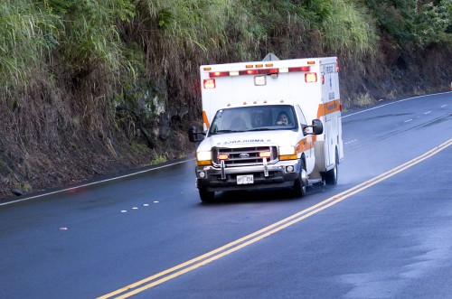 Medics transport victims of an accident on Highway 19.