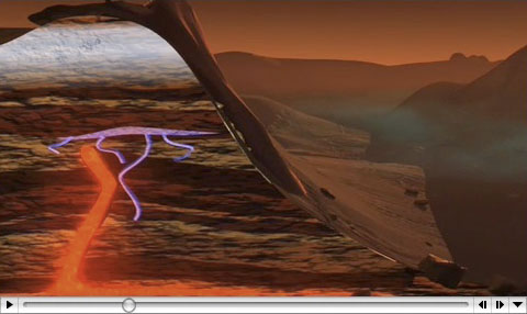 Conceptual animation depicting how geochemical processes during the course of Mars' history may have produced the methane plumes now seen in Mars' atmosphere. Credit: Susan Twardy/NASA
